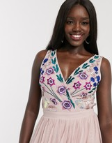 Dolly & Delicious plunge front all over embroidered full prom maxi dress in multi