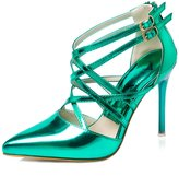 fereshte Womens Leatherette Pointed-toe Cross Strappy Ankle Buckle High Heel Stiletto Dress Pump US Size 4.5