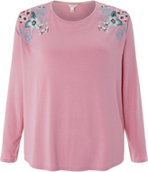 Monsoon Apollo Long Sleeve Embroidered Pyjama Top