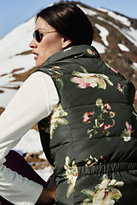 Classic Women's Tall Down Vest-White Pelican Floral Print