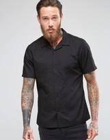 Asos Crinkle Shirt with Revere Collar in Short Sleeve In Regular Fit