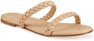 Gianvito Rossi Marley Flat Braided Two-Band Slide Sandals