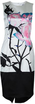Prabal Gurung White Digital Floral Print Sleeveless Dress M