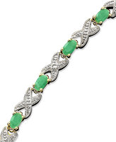 Townsend Victoria 18k Gold over Sterling Silver Bracelet, Emerald (3 ct. t.w.) and Diamond Accent XO