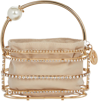 Rosantica Abaco Cage Pearl And Crystal Clutch