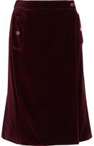 Vanessa Seward Aydee Cotton-blend Velvet Wrap Skirt - Burgundy