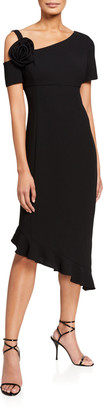 Shani Asymmetric Short-Sleeve Flounce-Hem Crepe Dress