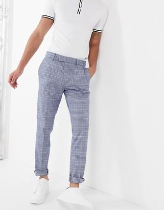 Topman skinny smart trousers in light blue & navy check