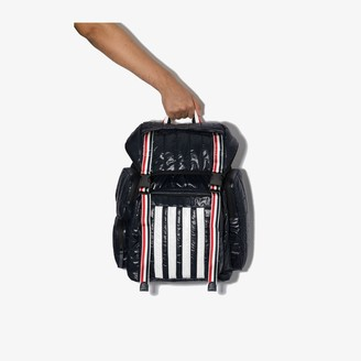 Thom Browne Blue quilted tricolour 4-bar stripe backpack