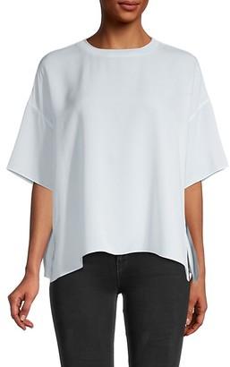 Vince Short Sleeve Oversized Silk Blouse