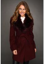 Vince Camuto Faux Fur Collar Coat (Burgundy) - Apparel