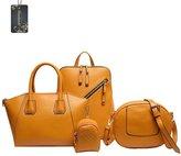 Donaword Women 4 Pcs Muti-purpose PUeather Handbag Shouder Backpack Satche Tote Set Back