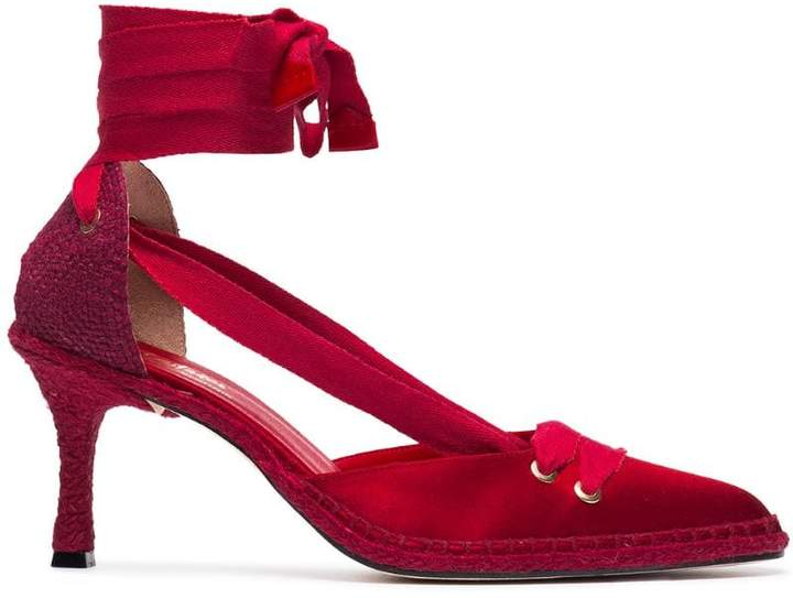 Castaner X Manolo Blahnik Red 70 Satin Espadrille Pumps