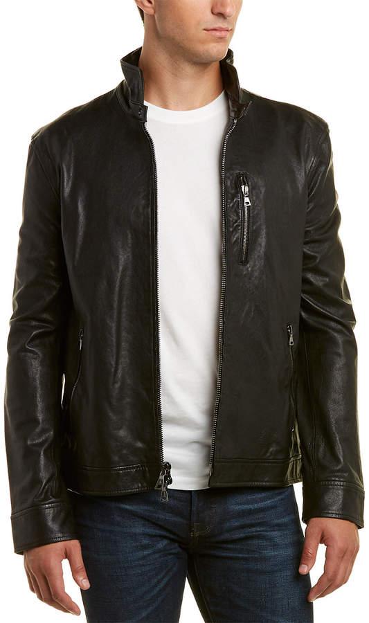 John Varvatos Leather Slim Fit Jacket