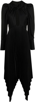 KHAITE Puff-Sleeve Pleated Dress