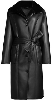 Stand Studio Krista Belted Faux Leather Coat