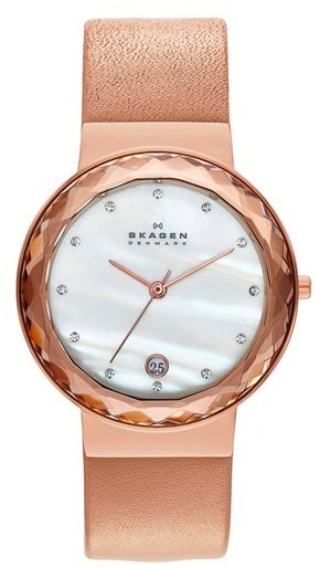Skagen Faceted Glass Bezel Leather Strap Watch, 34mm