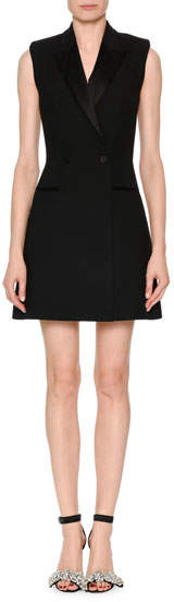 Alexander McQueen Sleeveless A-Line Tuxedo Dress