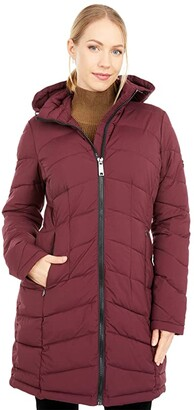Calvin Klein Zip Front Stretch Walker Length Coat with Hood and Side Pockets (Oxblood) Women's Coat