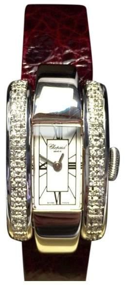 Chopard 18K White Gold with Custom Diamond Bezel & Leather Band 18mm Womens Watch