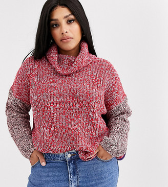 Only Curve colourblock jumper with roll neck-Multi