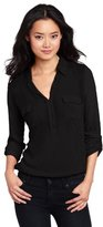 Black Shirt White Collar Women - ShopStyle