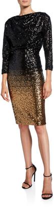 Badgley Mischka Ombre Sequin Sheath Dress