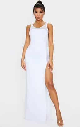 PrettyLittleThing Black Mesh Extreme Split Maxi Dress
