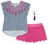 Self Esteem Short Sleeve Woven Top with Crochet Short Set - Girls' 4-16 & Plus