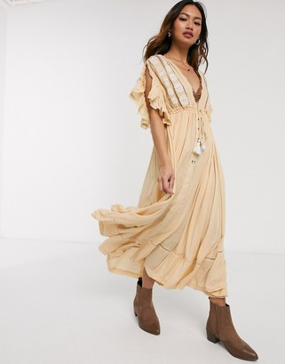 Free People will wait for midi dress in yellow stripe