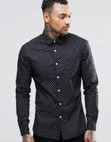 Asos Skinny Shirt In Navy With Circle Print In Long Sleeve