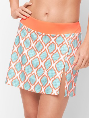 Talbots Cabana Life Vented Swim Skirt - Orange Lagoon Diamond