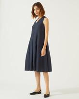 Jigsaw Pleated Linen Dress