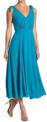 Betsey Johnson Solid V-Neck Sleeveless Crepe Midi Dress