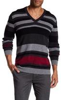 HUGO BOSS Slim Fit Extra Fine Lambswool V-Neck Stripe Sweater