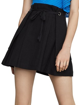 BCBGMAXAZRIA Tie-Front Linen Cotton Blend Mini Skirt