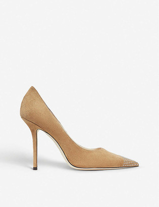 Jimmy Choo Love 100 crystal-embellished suede courts