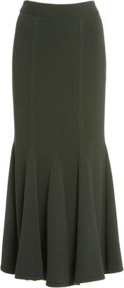 Carolina Herrera Plaited Ribbed-Knit Flared Skirt