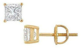 Zales 1/4 CTW. Princess-Cut Diamond Solitaire Stud Earrings in 18K Gold (I/SI2)