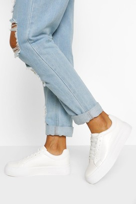 boohoo Basic Platform Lace Up Sneakers
