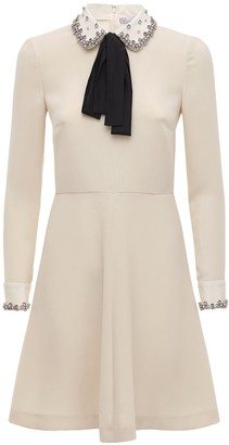 RED Valentino Exclusive Embellished Crepe Mini Dress