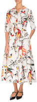 Erdem Kasia Bird-Print Midi Shirtdress, White Pattern