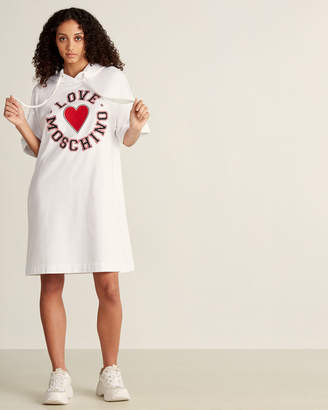 Love Moschino Logo Embroidered Long Sleeve Hoodie Dress