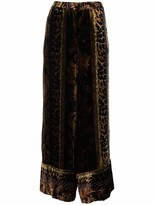 Thumbnail for your product : Pierre Louis Mascia Animal-Print Wide-Leg Trousers