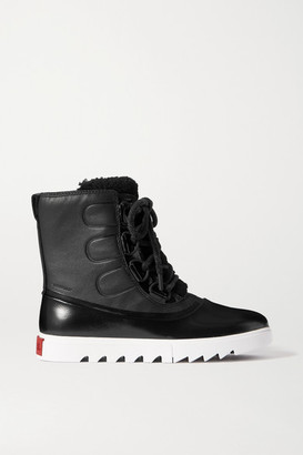 Sorel Joan Of Arctic Next Lite Waterproof Shearling-trimmed Leather And Rubber Boots - Black