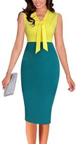FORTRIC Women Contrast Color Bow Elegant Bridesmaid Evenning Party Pencil Dress S