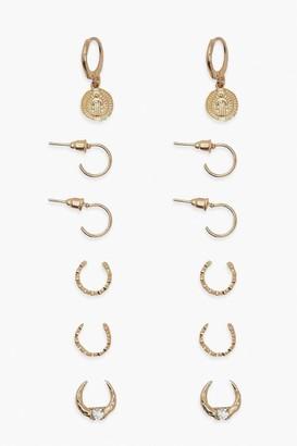 boohoo Coin Drop Hoop 5 Pairs Earring Pack