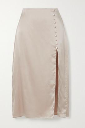 CAMI NYC The Kalanni Embellished Silk-charmeuse Midi Skirt - Beige