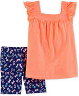 Carter's Baby Girls 2-Pc. Flutter-Sleeve Tunic & Printed Shorts Set