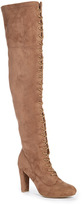 Wild Diva Taupe Amaya Lace-Up Over-the-Knee Boot